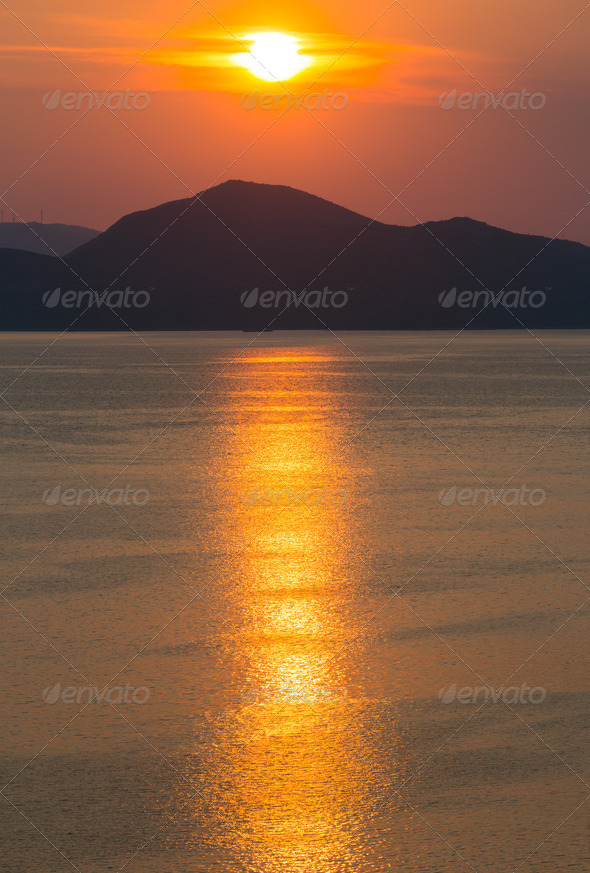 Summer sunset coastline (Ston, Croatia) - Stock Photo - Images