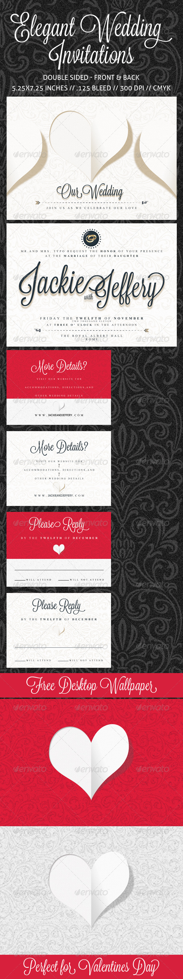 GraphicRiver Elegant Wedding Invitation RSVP and Info Card 1150570