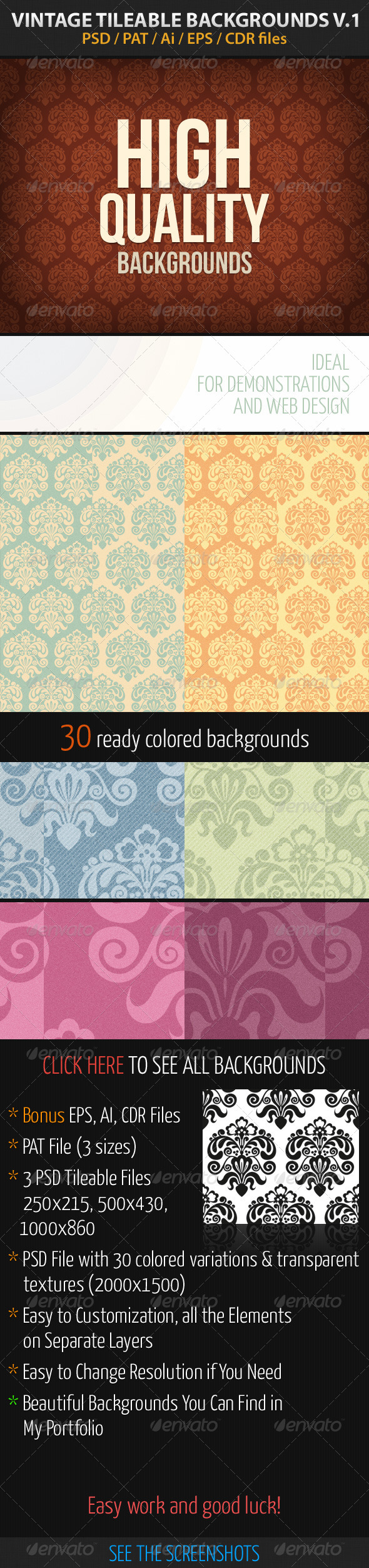 GraphicRiver Vintage Tileable Backgrounds v1 2795945