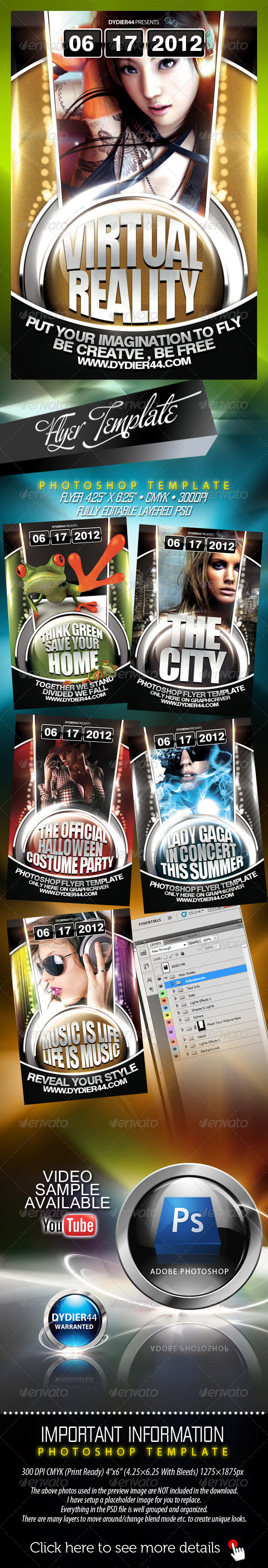 Virtual Reality (Flyer Template 4x6)  - Clubs & Parties Events