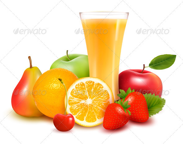 Fresh fruit and glass with juice.