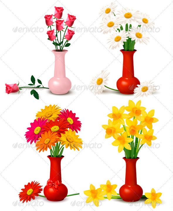 GraphicRiver Big set of spring and summer flowers 2796426