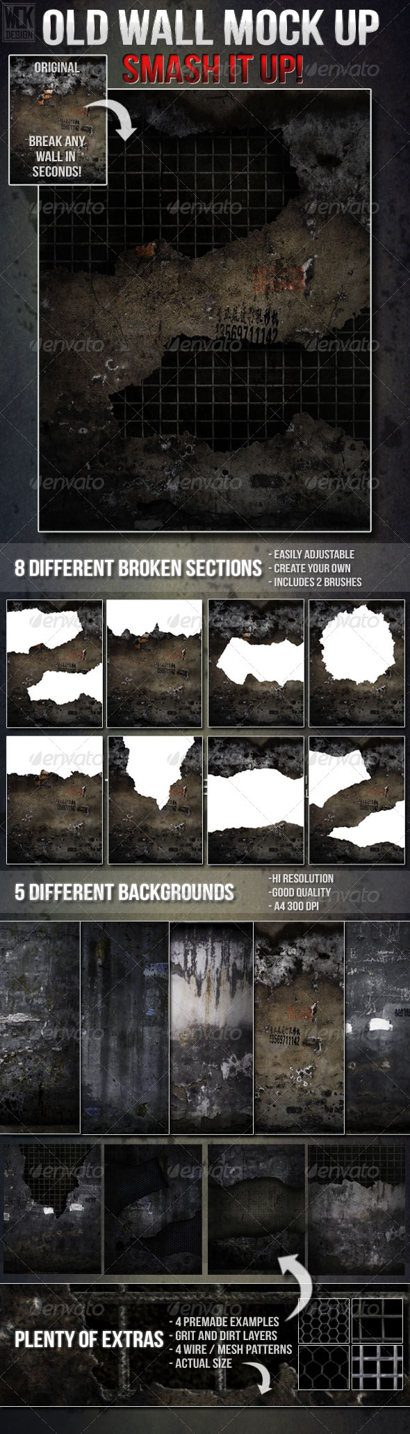Old Destructible Wall Mock Up - Backgrounds Graphics