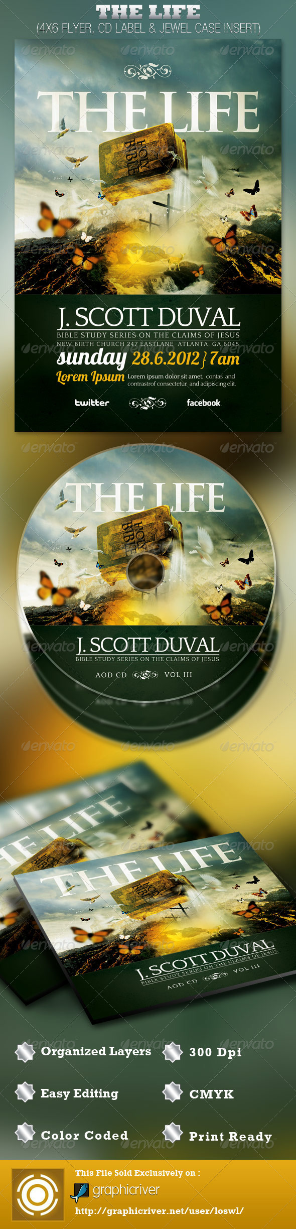 GraphicRiver The Life Church Flyer and CD Template 2527105