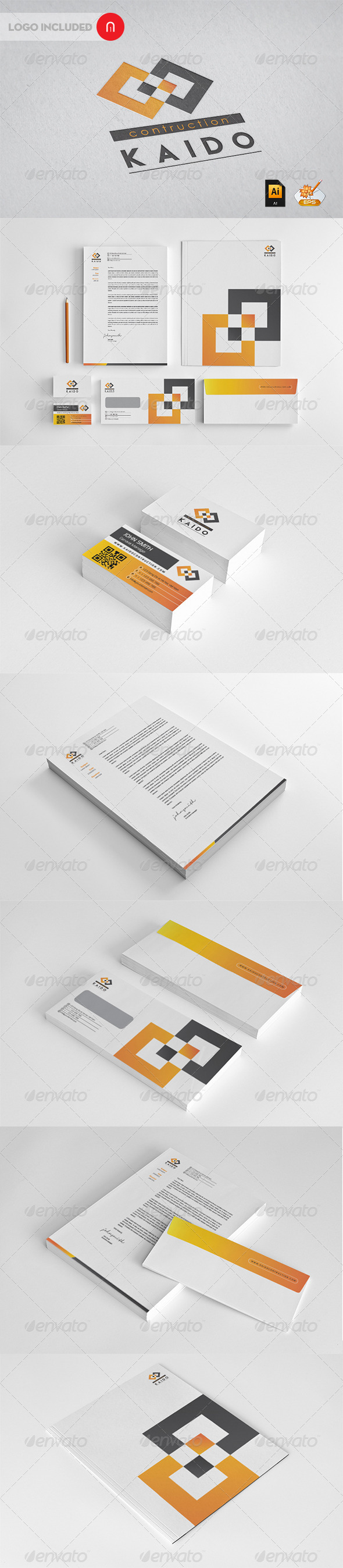 Kaido contruction professional Corporate Identity - Stationery Print Templates