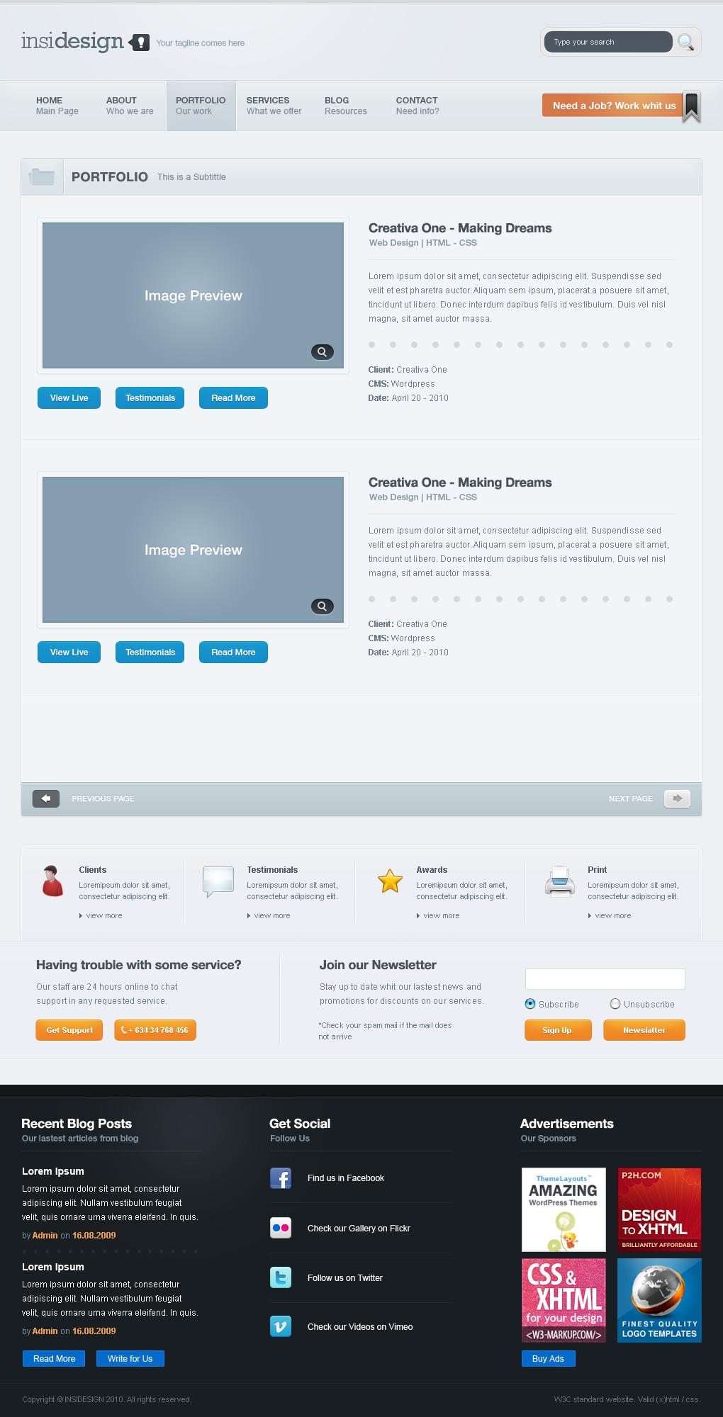 Insidesign - Company, Portfolio, Blog - Template