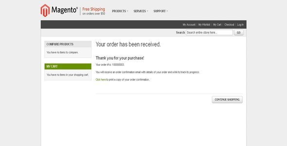 CodeCanyon Print Order Confirmation Receipt as Guest User 2793769