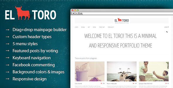 ThemeForest El Toro Minimal and Responsive Portfolio Theme 2789391