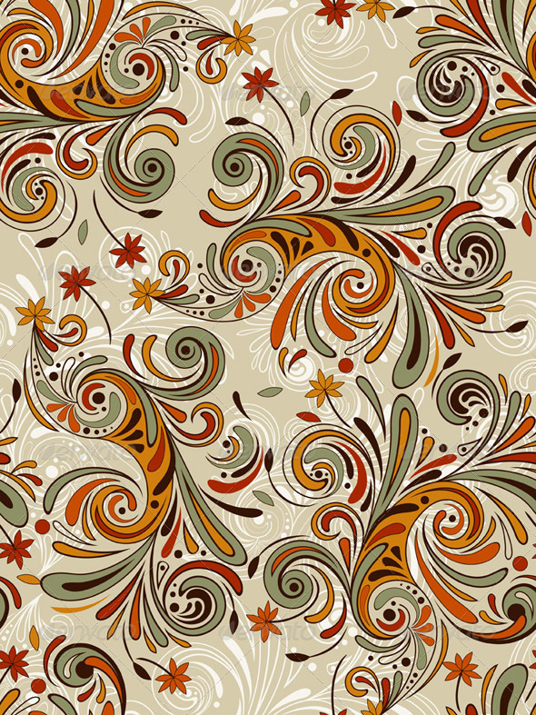 Vector Seamless Autumn Pattern - Patterns Decorative