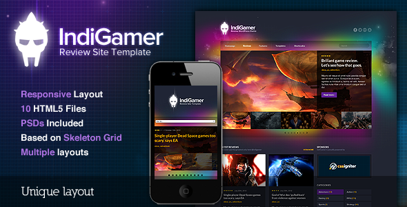 Indigamer - Responsive Review Site Template