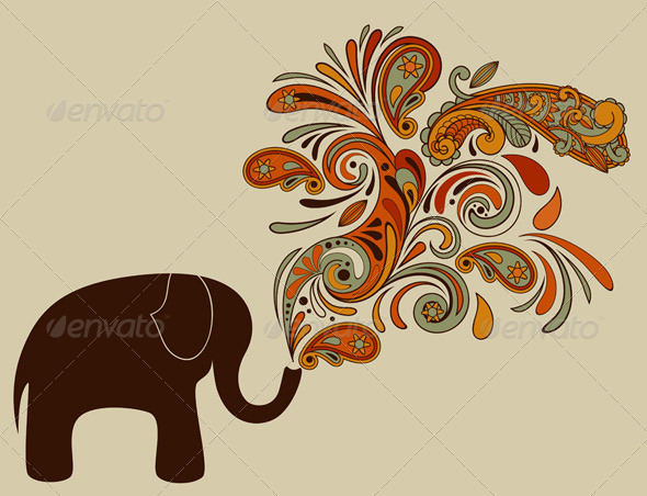 GraphicRiver Elephant with Floral Pattern Coming from His Trunk 2797754
