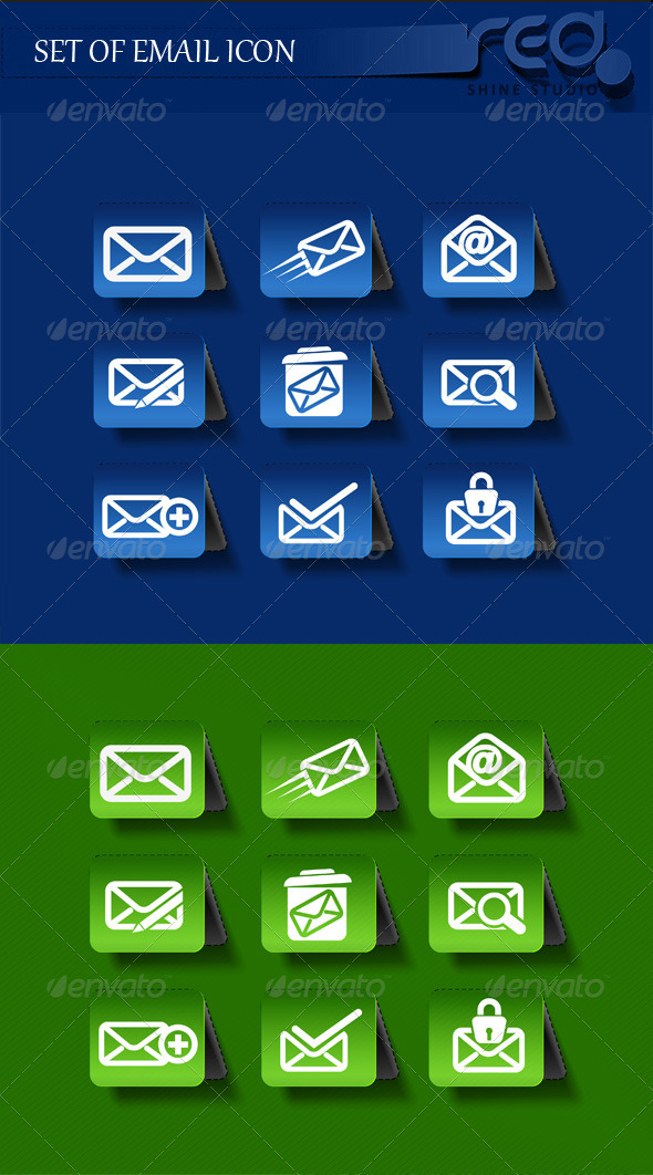 Email Icon Vector Pack with Two Color Version - Web Elements Vectors
