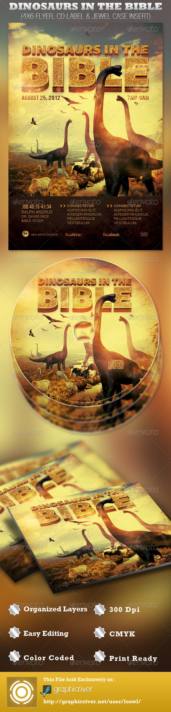 Dinosaurs in the Bible Church Flyer and CD - Church Flyers