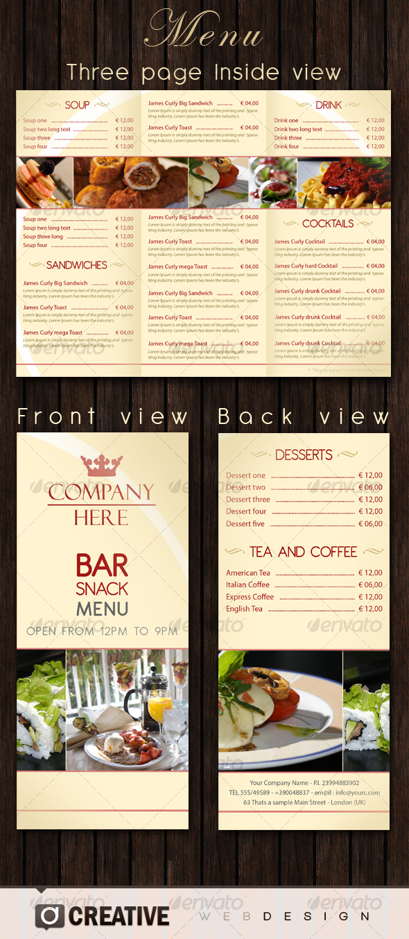 Bar - Restaurant Menu PSD