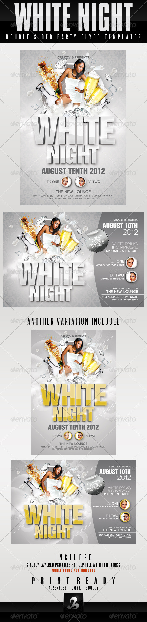 White Night Party Flyer Templates - Clubs & Parties Events