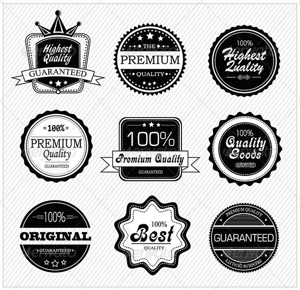 Premium quality and guarantee labels - Decorative Symbols Decorative