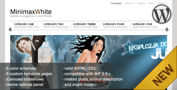 MinimaxWhite Wordpress Theme - Preview page