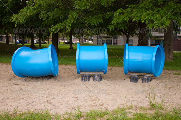 Children's play structure in the park - Stock Photo - Images