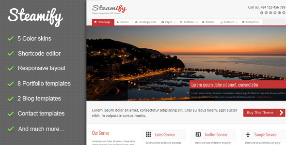 Steamify - Responsive Wordpress Theme - 01_Preview.jpg for preview of item detail