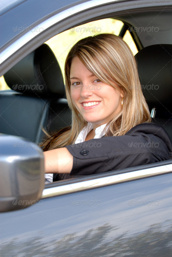 Woman Driving Her Car - Stock Photo - Images