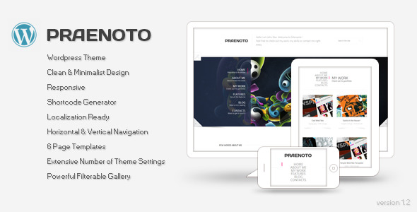 Praenoto - Clean & Minimalist WordPress Theme - Screenshot 1. Preview image.