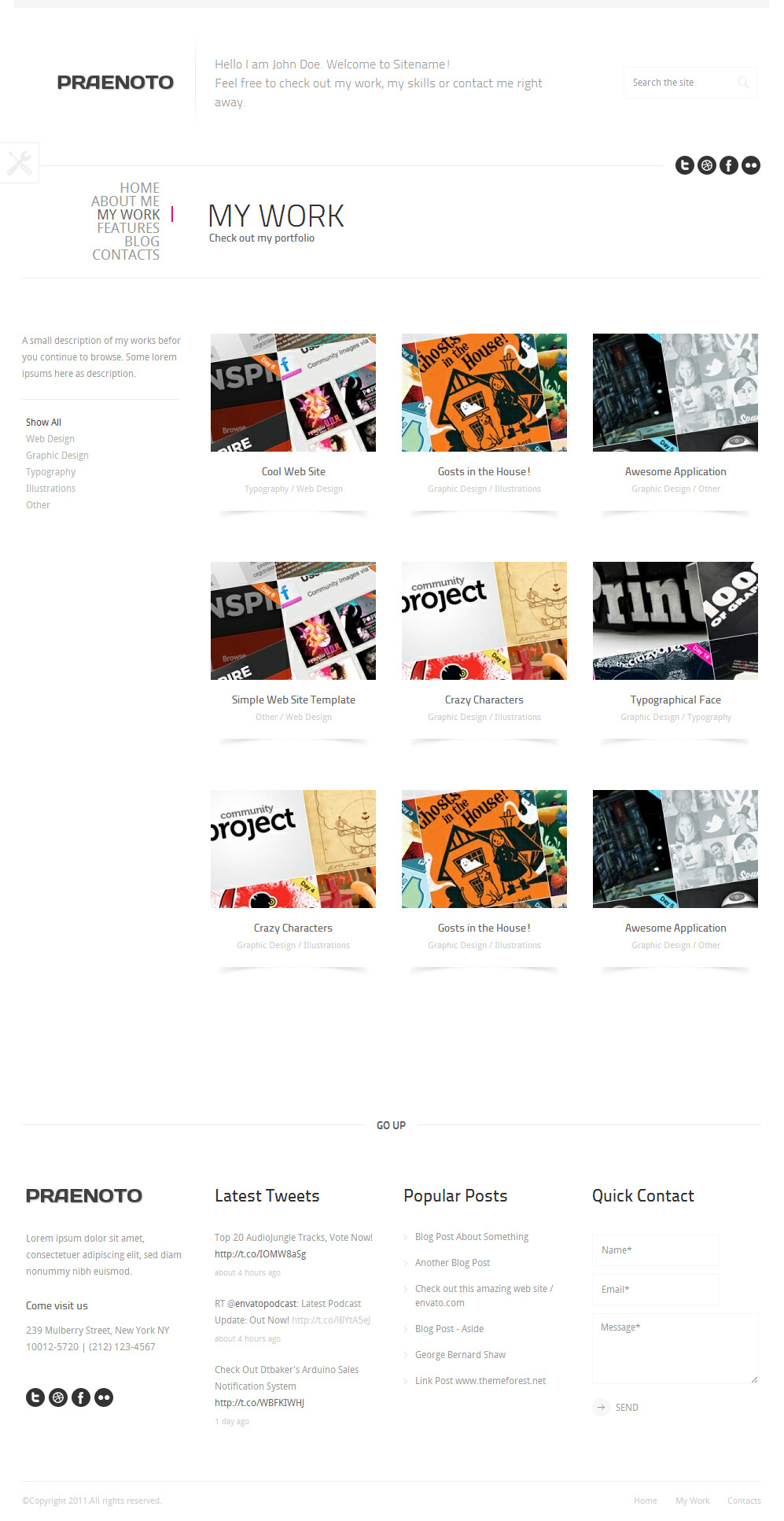 Praenoto - Clean & Minimalist WordPress Theme - Screenshot 4. Gallery page with 3 columns.