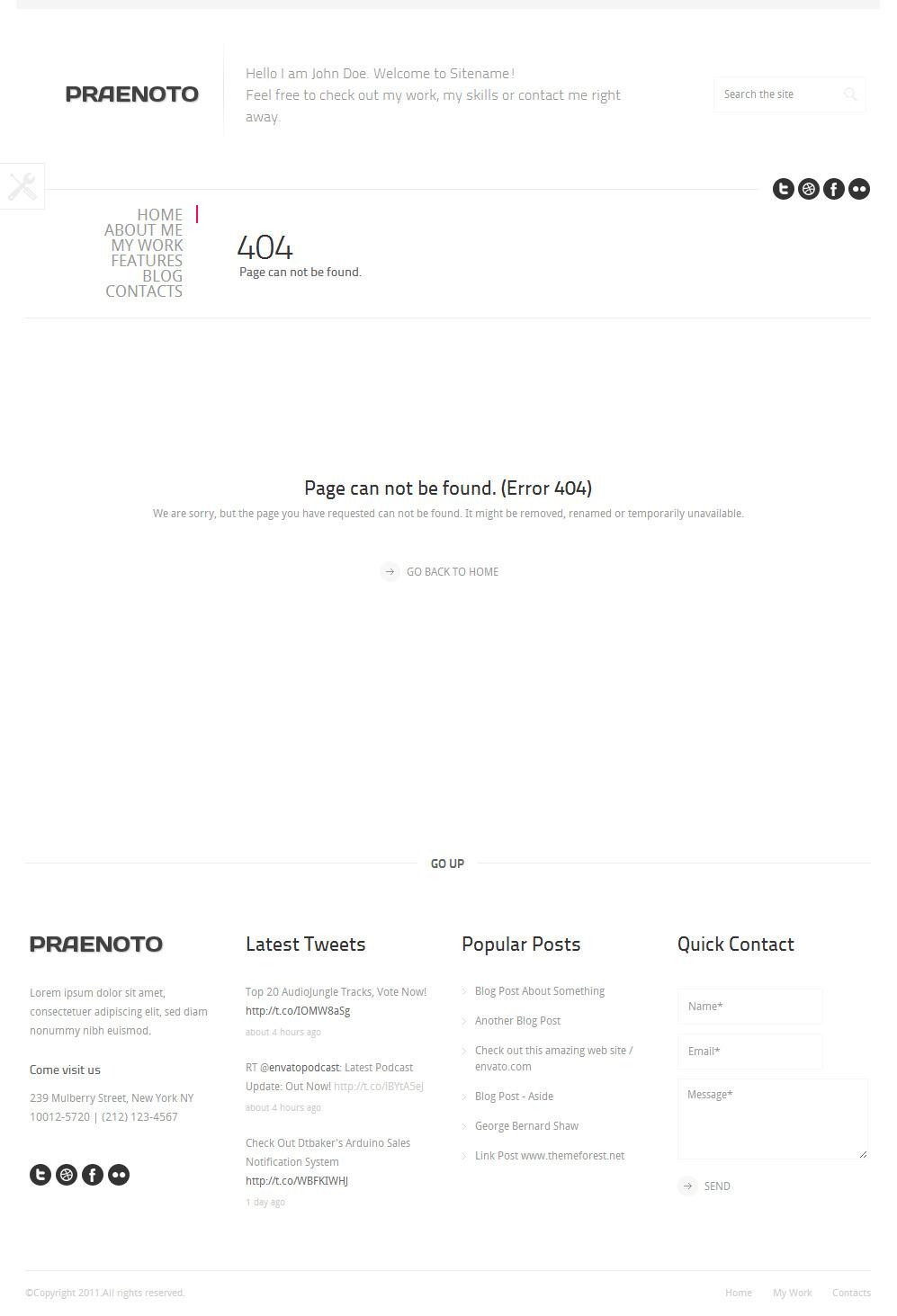 Praenoto - Clean & Minimalist WordPress Theme - Screenshot 8. 404 Page notfound error page.
