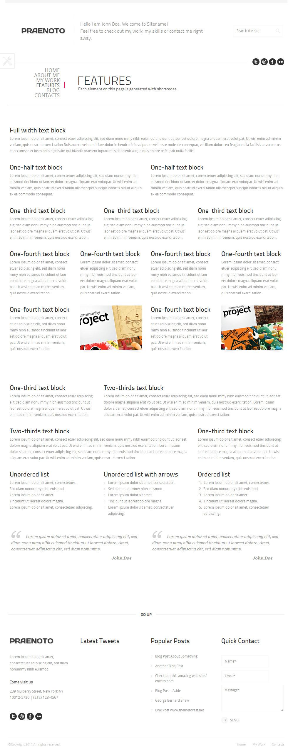 Praenoto - Clean & Minimalist WordPress Theme - Screenshot 13. Layout blocks page.