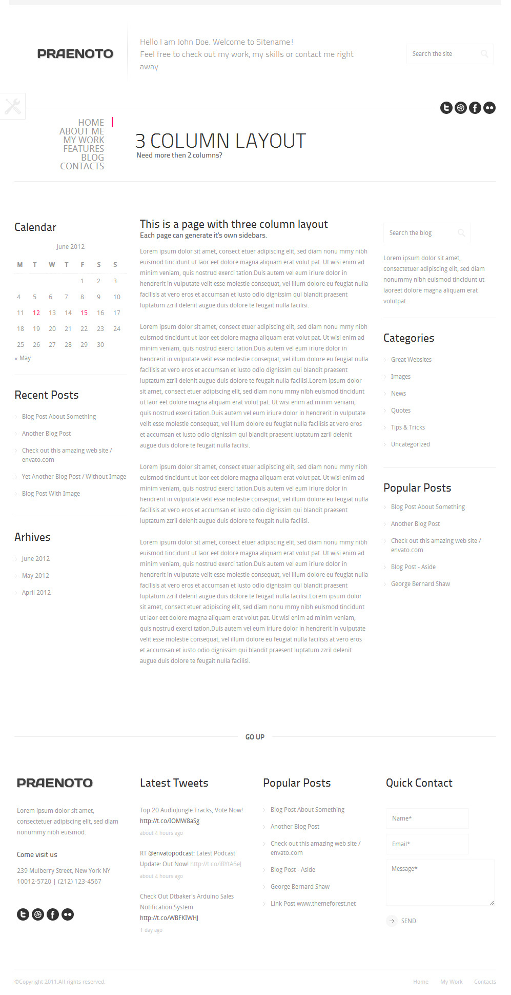 Praenoto - Clean & Minimalist WordPress Theme - Screenshot 14. Page with 3 Coulmn Layout
