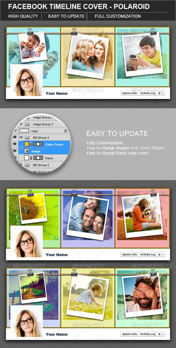 GraphicRiver Facebook Timeline Cover Polaroid 2802498