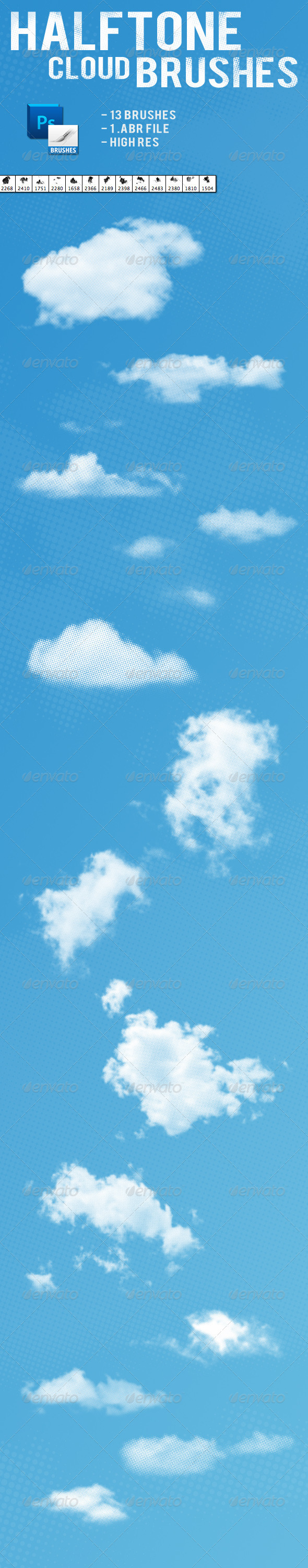Halftone Cloud Brushes - Brushes Photoshop