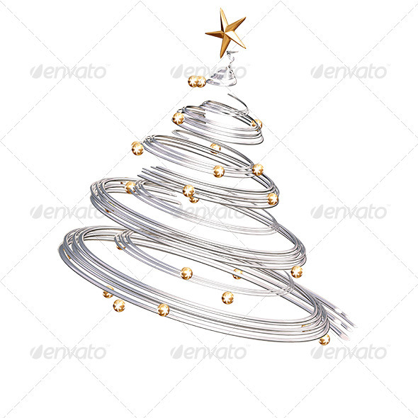 GraphicRiver Silver Spiral Christmas Tree 561759