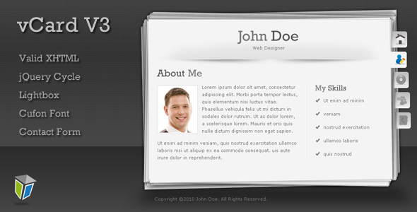 ThemeForest vCard3 Unique and Professional vCard Template 98591