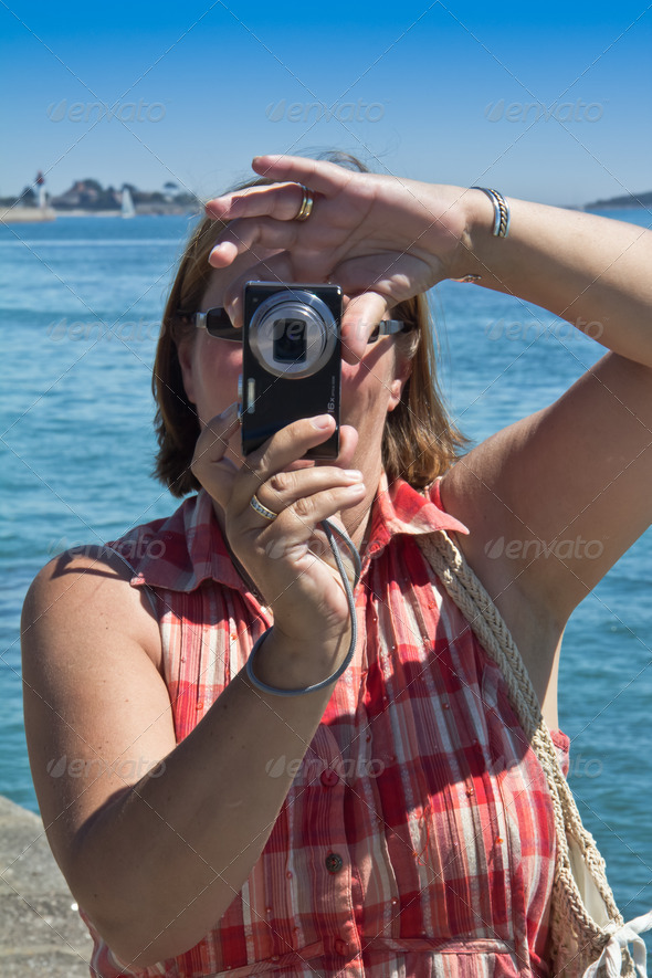 Woman taking Photographs - Stock Photo - Images