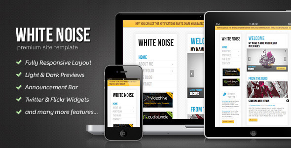 ThemeForest White Noise HTML5 Template 500225