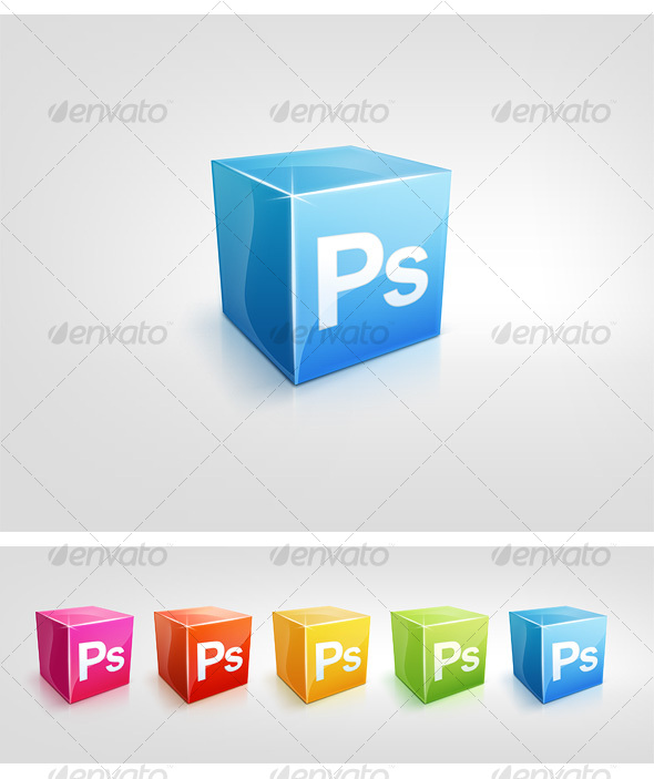 GraphicRiver 5 Color Cubic Icons 101159