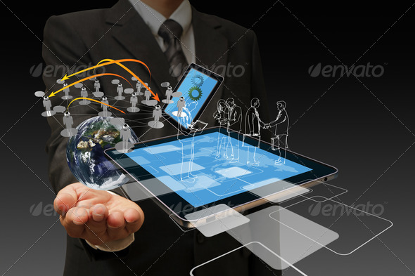 Technology in the hand of businessmen