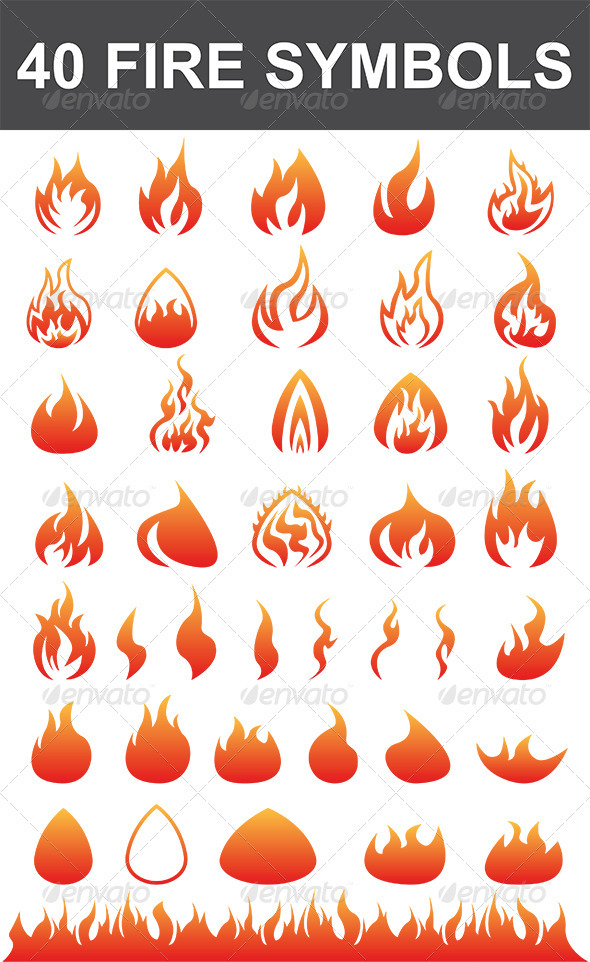 GraphicRiver 40 Fire Symbols 2805887