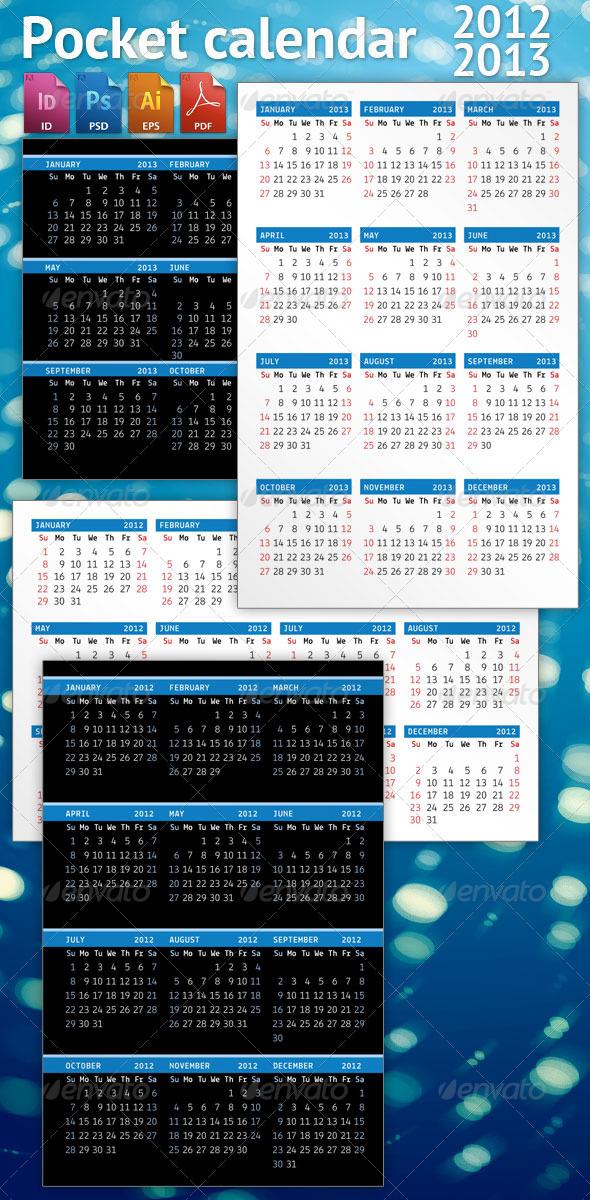 GraphicRiver Pocket calendar SET 2012-2013 2807313