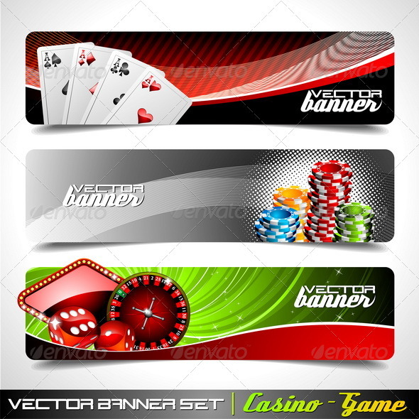 Vector Banner Set on a Casino Theme - Web Elements Vectors