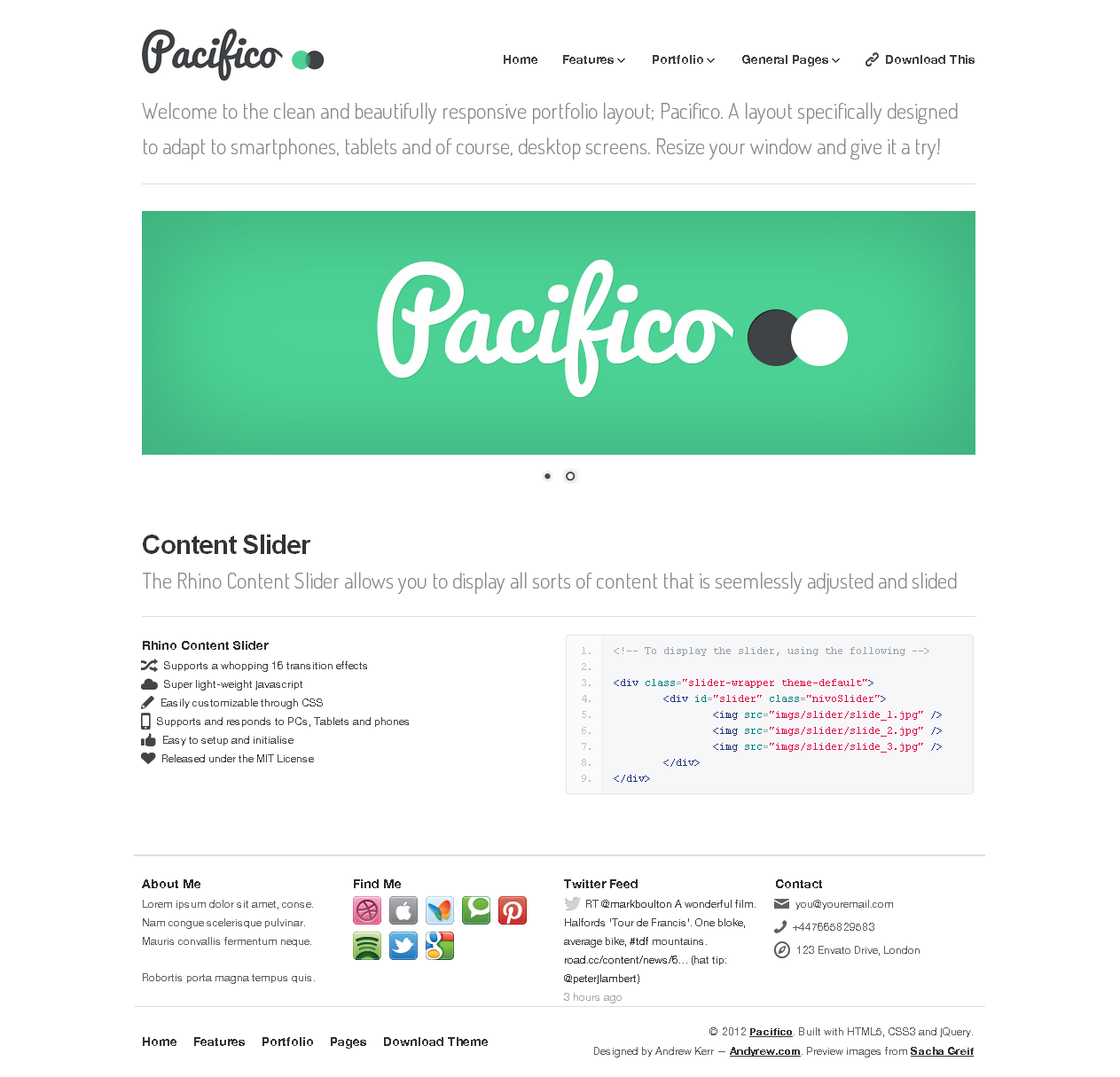 Pacifico — A Clean, Responsive Portfolio Layout