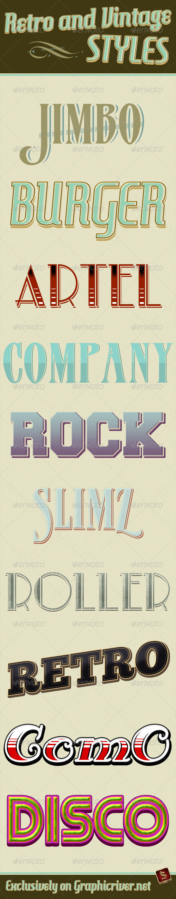 Retro And Vintage Styles - Text Effects Styles