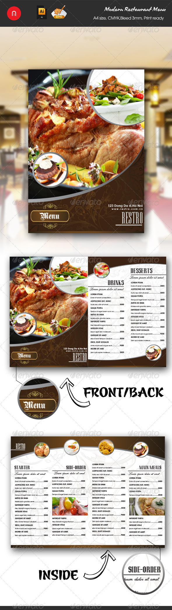 Modern Restaurant Food & Drinks Menu - Food Menus Print Templates