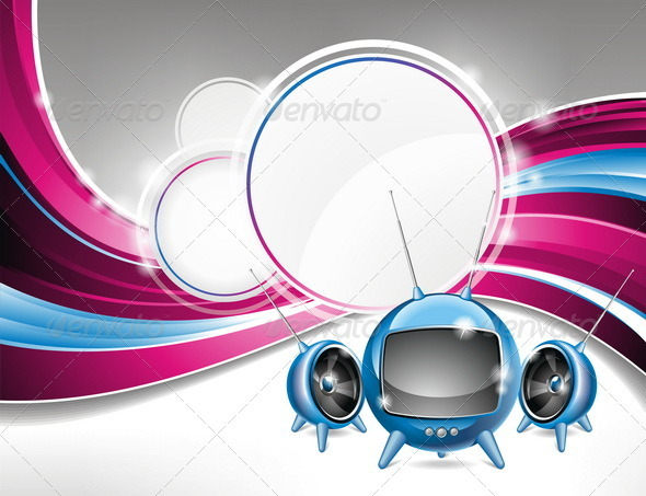 Vector illustration on a media and movie  theme wi - Media Technology