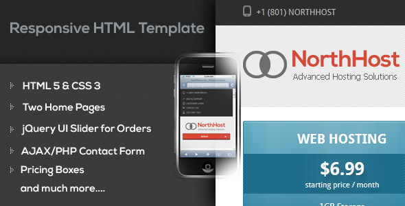 ThemeForest North Host Web Hosting Responsive HTML Template 2798886