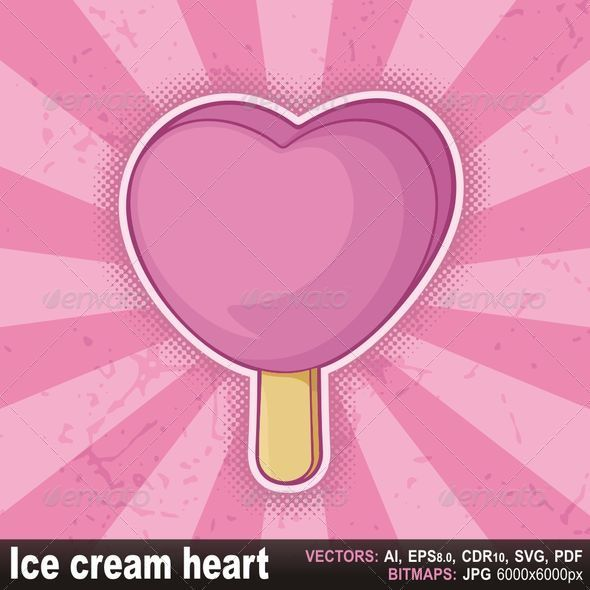 Heart shaped pink ice cream stick - Food Objects