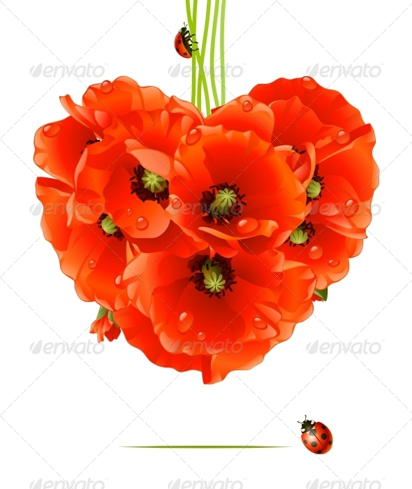 GraphicRiver Floral love card poppy heart 2812364