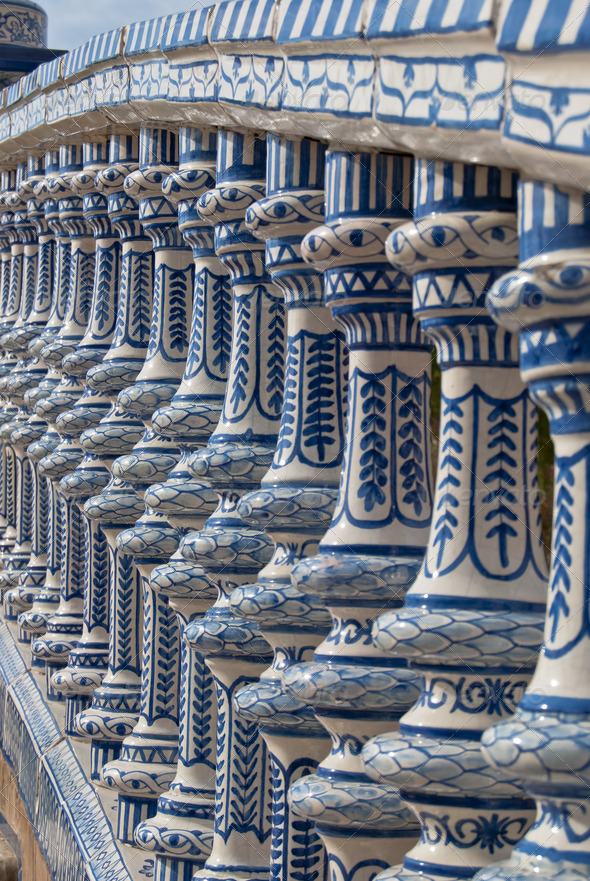 Ceramic Bridge square of Spain in Seville, Spain - Stock Photo - Images