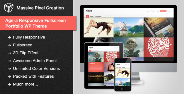 Agera Responsive Fullscreen Portfolio WP Theme - Screenshot 0 - Theme preview