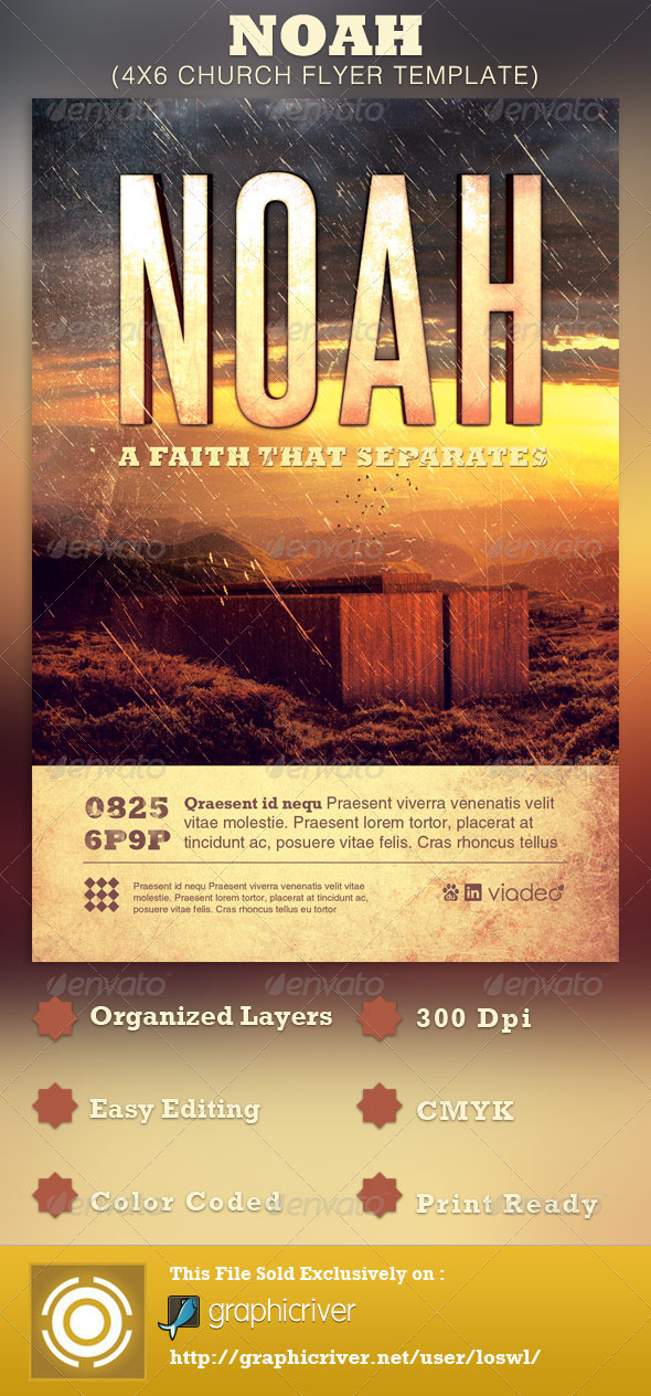 Noah Church Flyer Template - Church Flyers